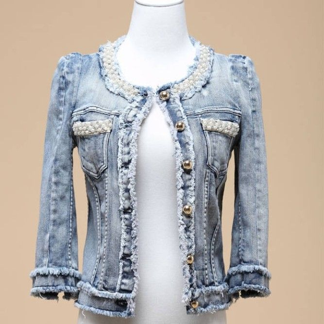 Jeans Kingdom >>Denim outerwear Female Spring Autumn Short Design Pearl Beading Diamond denim Coat Europe Style $34.00 - 37.60
