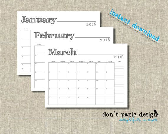 rustic printable monthly calendar 2015 2016 12 by dontpanicdesign