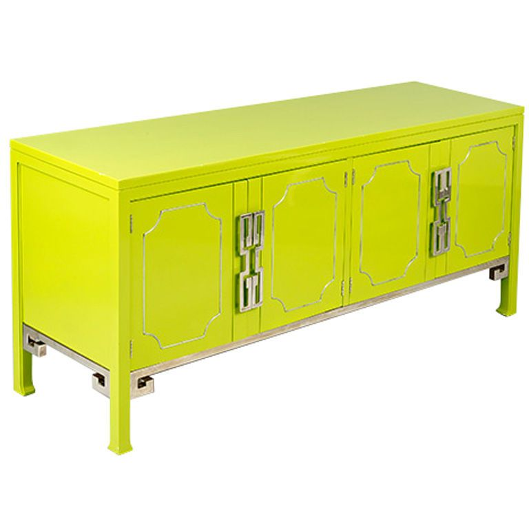 Lacquered Green Mastercraft Credenza with Greek Key Motif ...