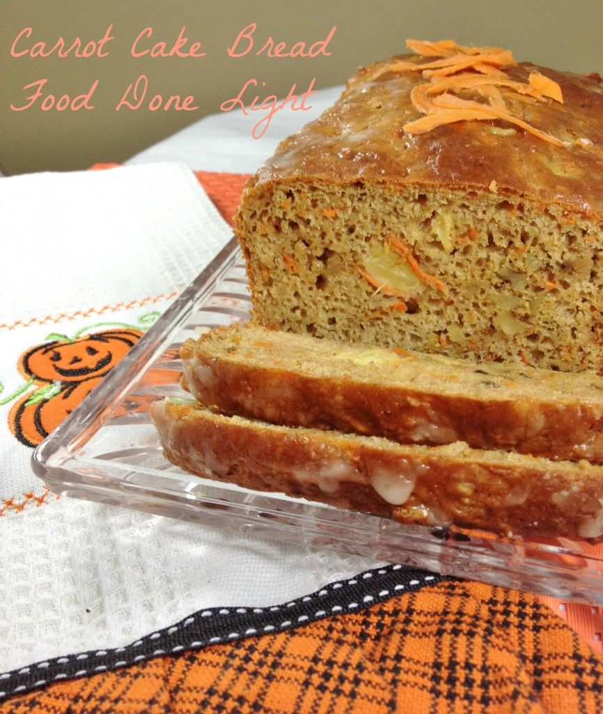 Omg this bread is fantastic tastes like cake but it is low calorie make an easy quick bread that tastes like carrot cake pineapple keeps the bread moist topped with a vanilla icing carrot cake bread for 102 calories forumfinder Images