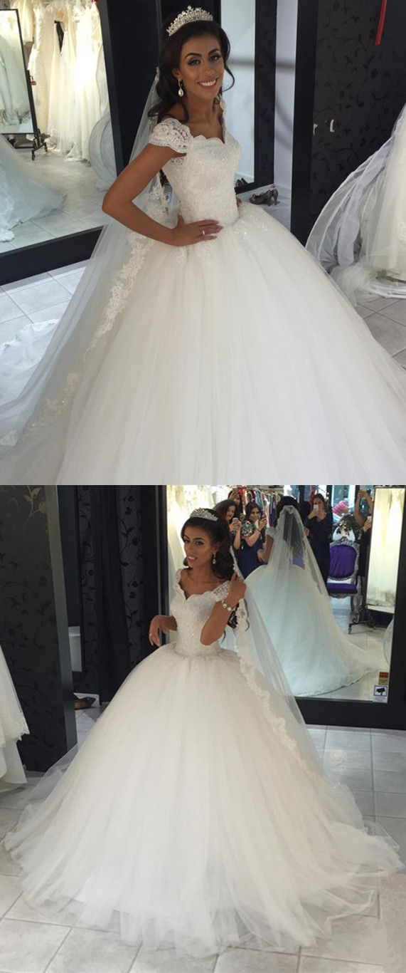 Vintage Lace V-neck Tulle Ball Gowns Wedding Dresses 2018 | Tulle ...