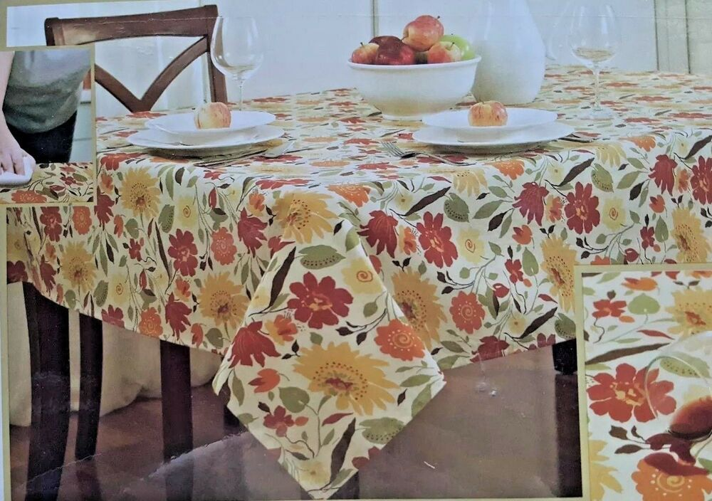 Blooms Laminated Fabric Tablecloth 52 X 70 Brick Ease Of Vinyl