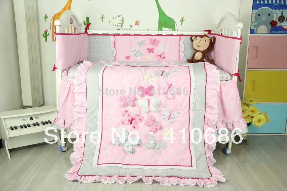 Butterfly Nursery Bedding New Embroidered 3d Pink Butterfly Lace