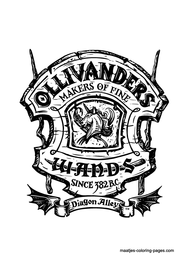 universal movie coloring pages | door decorations Diagon Alley - Ollivander's Makers of ...