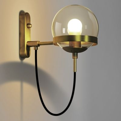 Vintage Retro Industrial Lighting 1 Light Brass Hallway Wall