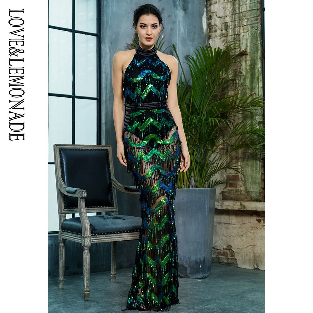 be37d1faf5a9 Aliexpress.com : Buy Love&Lemonade Sexy Stand Green Wave Tassel Sequins  Open Back Long Dress LM81390 from Reliable Dresses suppliers on  LOVE&LEMONADE Store