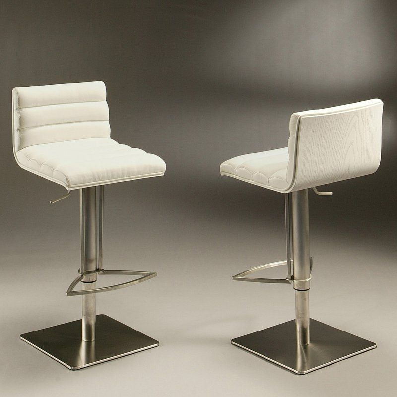 stool chair dubai white leather accent impacterra adjustable hydraulic bar stainless steel back ivory seat qldb21922197867