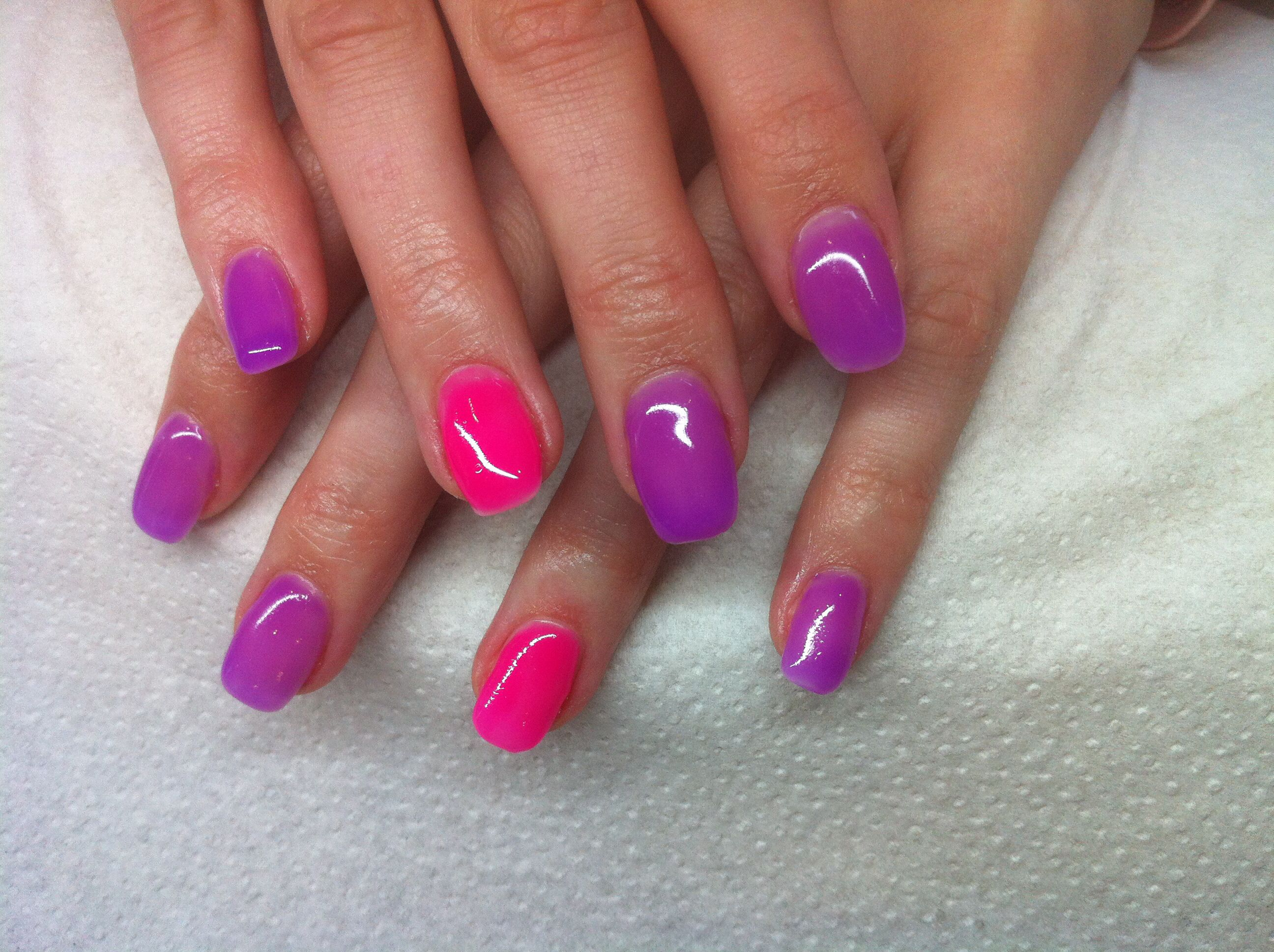 Pink and purple gel nails | Purple gel nails, Colorful ...