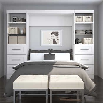 Boutique Full Wall Bed With Two Storage Units And Drawer In White