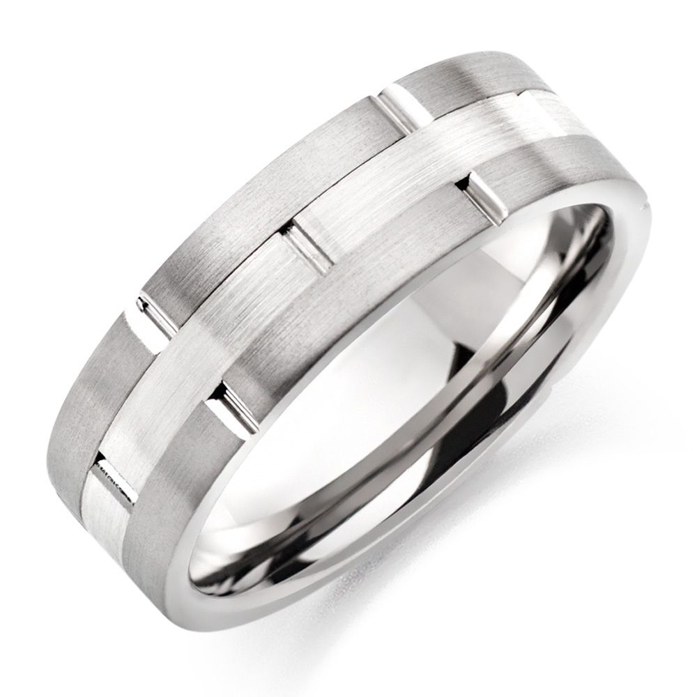 Men's Two Tone Brushed Titanium Ring Titanium rings for