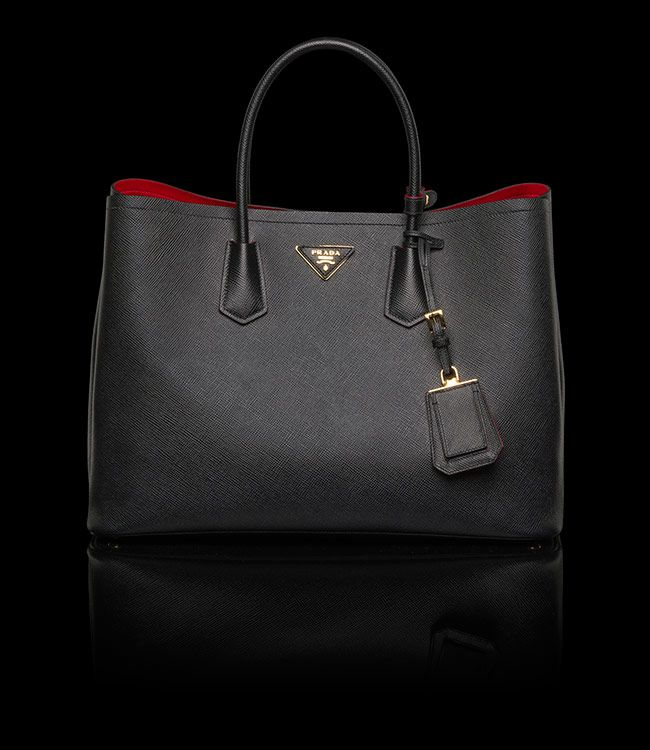 d601bc46 PRADA TOTE SAFFIANO CUIR LEATHER TOTE DOUBLE HANDLE GOLD-PLATED ...