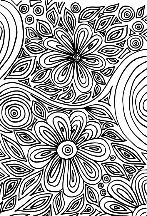 Doodle Coloring Page Flowers Art therapy Flower art