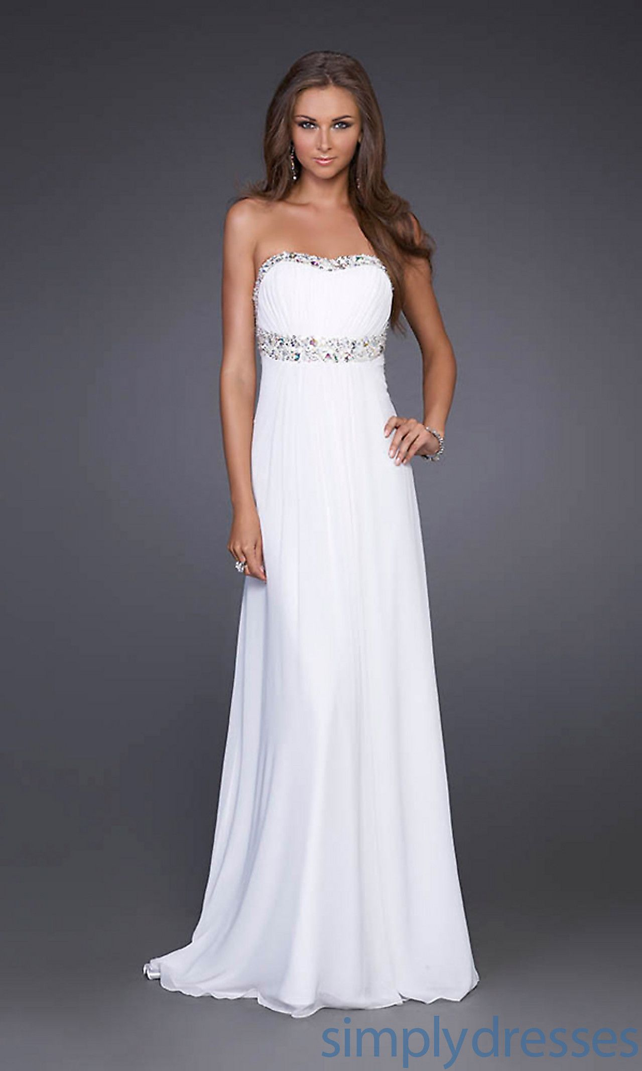 1000  images about White Dresses on Pinterest  Chiffon evening ...