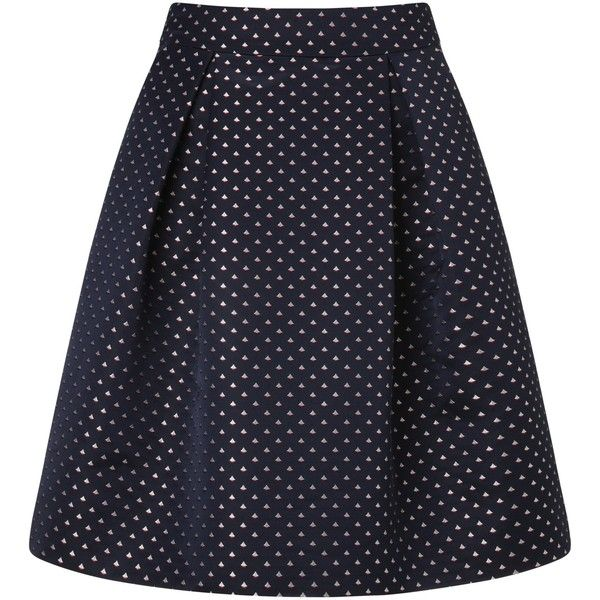 Somerset by Alice Temperley Sail Boat Jacquard Skirt, Blue (£44) ❤ liked on Polyvore featuring skirts, circle skirt, flared skirt, blue pleated skirt, pleated skater skirt and skater skirt