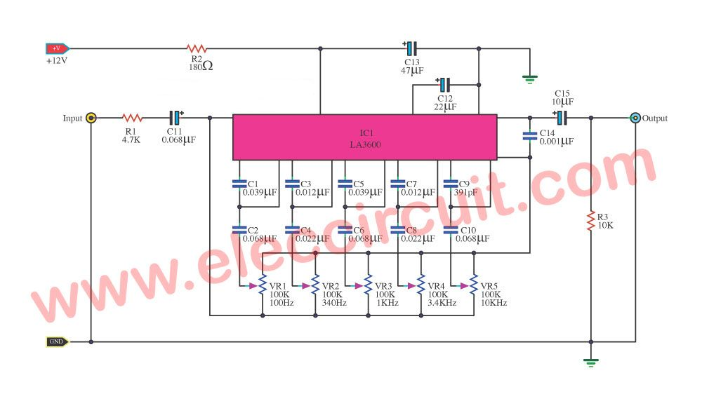 Graphic Equalizer Circuits With Pcb Layout For You Eleccircuit Com Circuit Electronic Circuit Projects Equalizer