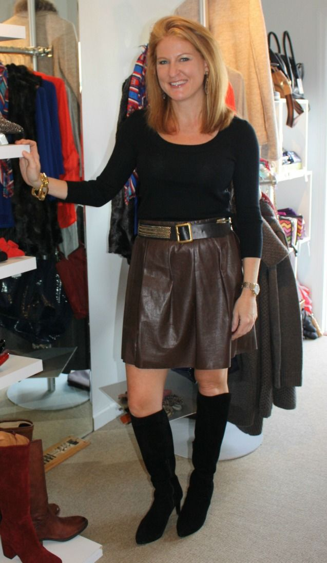 Leather Skirts Add an Edge to Over 40 Fashion