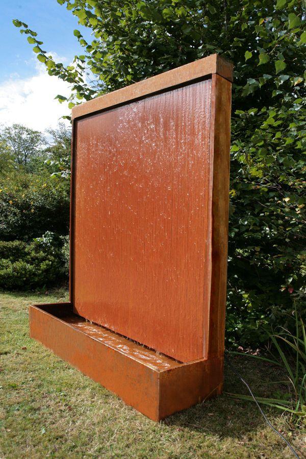 Details zu Cortenstahl-Wasserwand mit LED-Beleuchtung 175cm Garten - brunnen garten stein