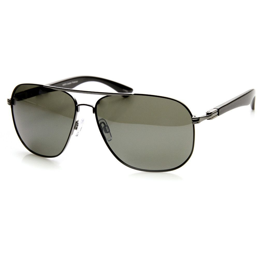 bb6ae65037 Description - Measurements - Shipping - High quality square metal aviator  sunglasses that feature sleek plastic temples and a polarized lens.