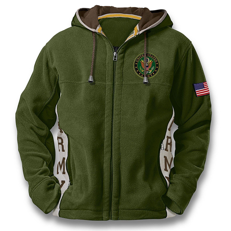 U.S. Army Hoodie: Men's Green Hooded Fleece Jacket | Jackets,coats ...