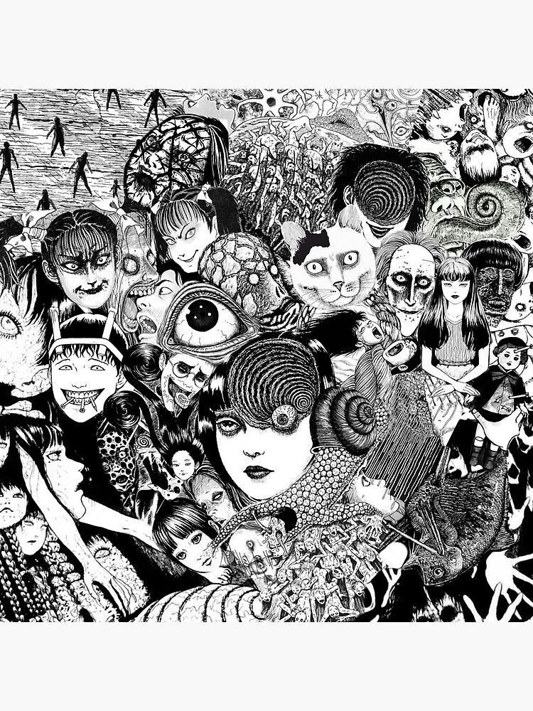 Junji Ito Collage Canvas Print By Mother Dot In 2021 Japanese Horror Junji Ito Japanese Art