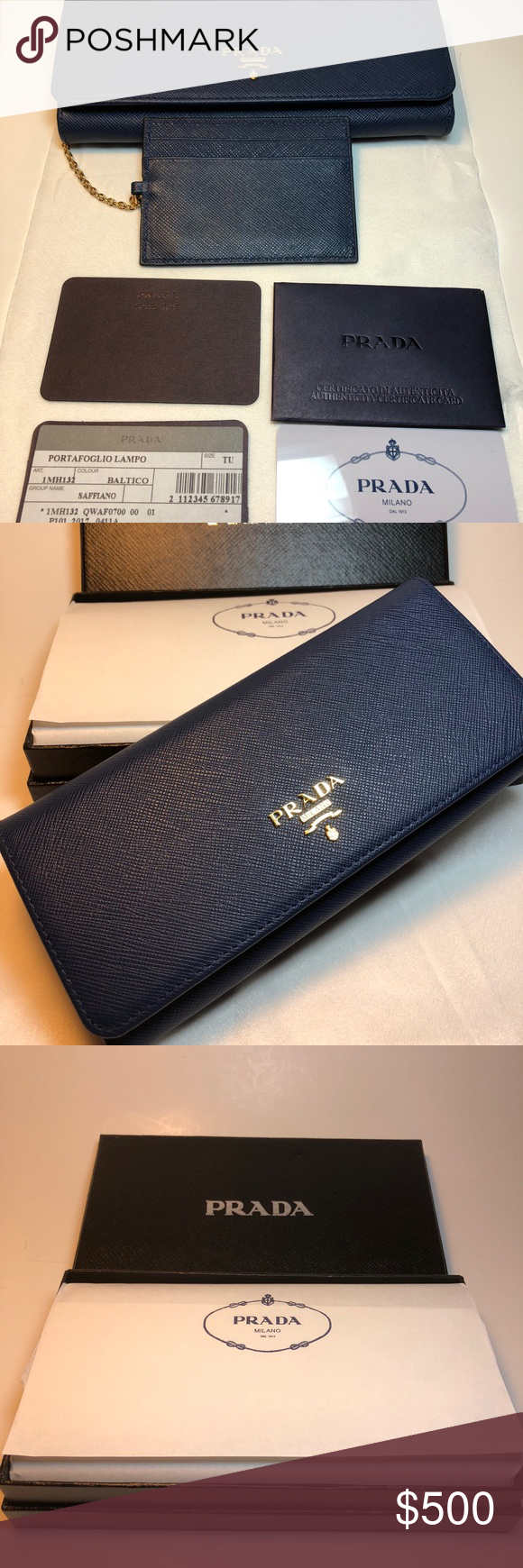 a2fb288c45f2 Prada Saffiano Leather Wallet Navy blue color Never used - has box ...