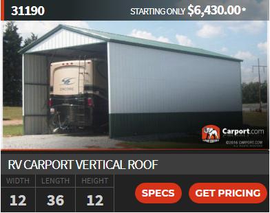 Vertical Rv Carport 12 X 36 Rv Carports Carport Carport Covers