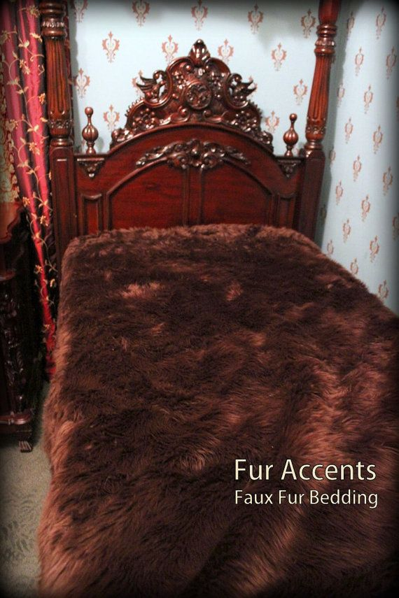 King Size / Exotic Brown Bear Shaggy Faux Fur Bedspread / Plush Faux Fur / Throw blanket / Comforter / New $398.00 USD  ==reminds me of a grizzly!! :-) Lodge feel. Oh my.