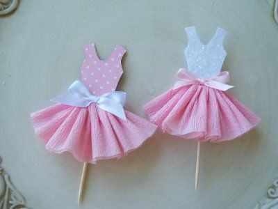 A ballet dress as a cupcake topper bookmark and more for Pin the tutu on the ballerina template
