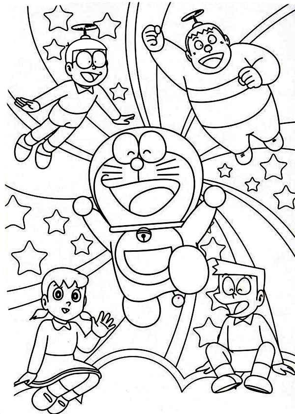 Nobita Shizuka Suneo Giant Doraemon Happy Together Coloring Pages Netart Buku Mewarnai Warna Doraemon
