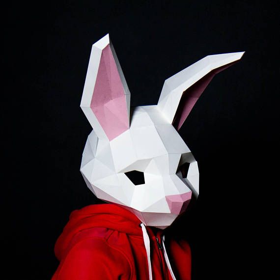 Rabbit Mask Bunny Mask Paper Craft Digital Template Etsy In 2021 Bunny Mask Paper Bunny Cardboard Art