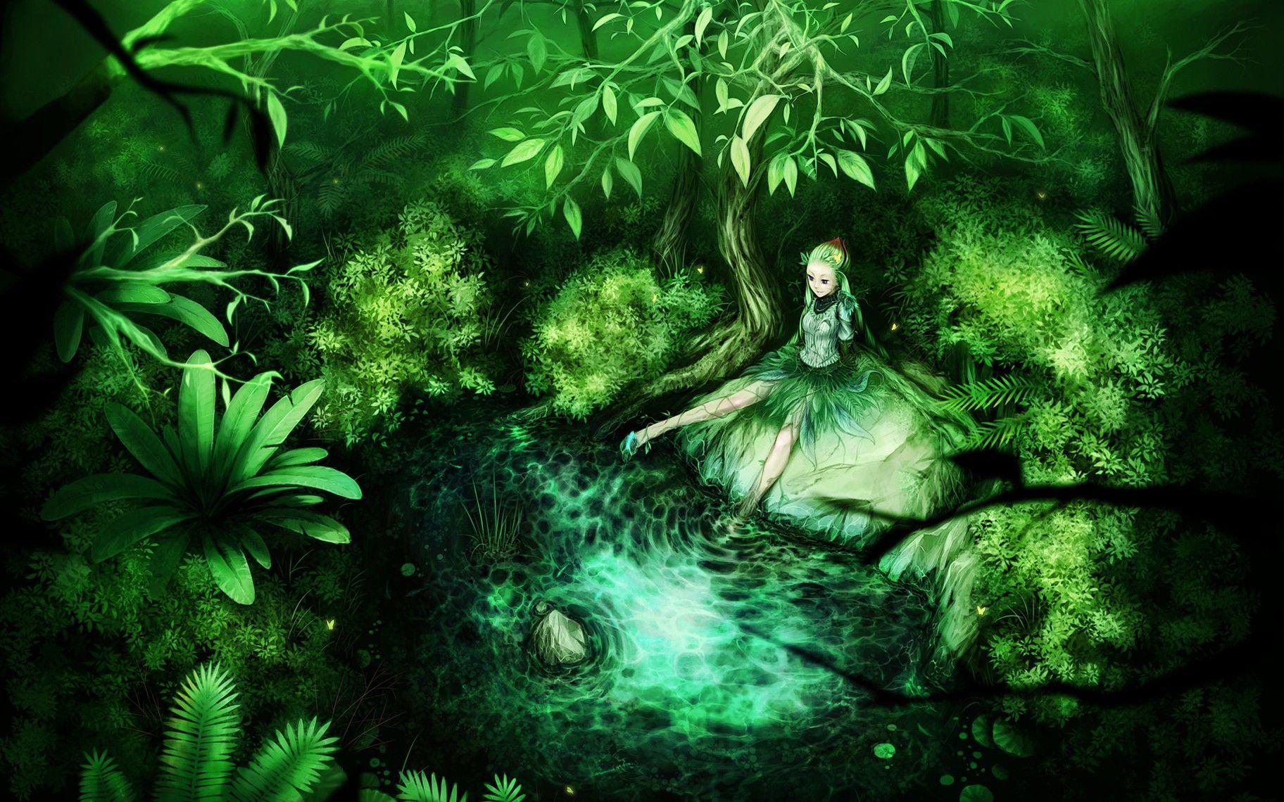 Green Anime Wallpaper In 2020 Fairy Wallpaper Fantasy Girl Fantasy Posters
