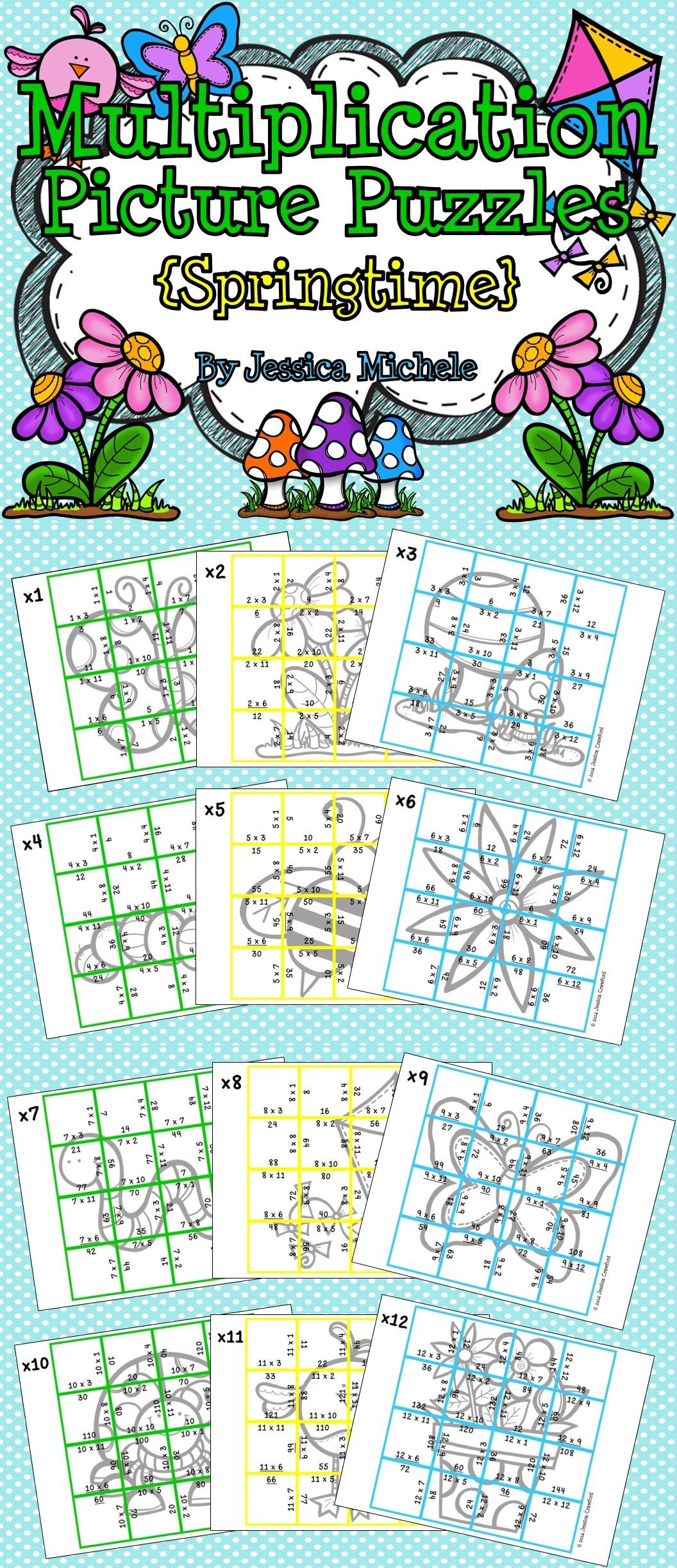 Multiplication Picture Puzzles Springtime