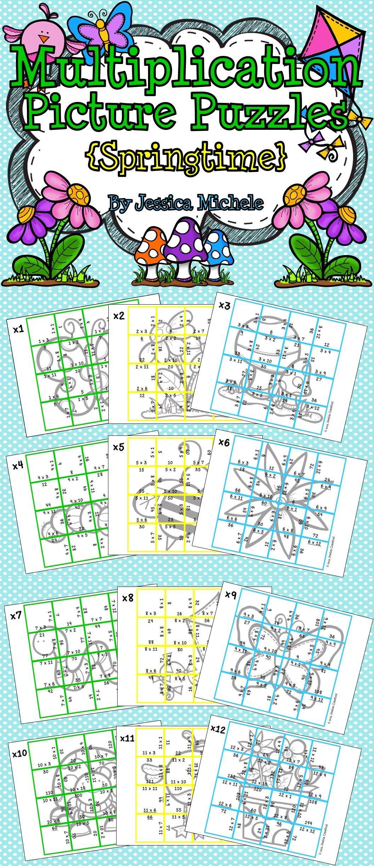 Multiplication Picture Puzzles Springtime