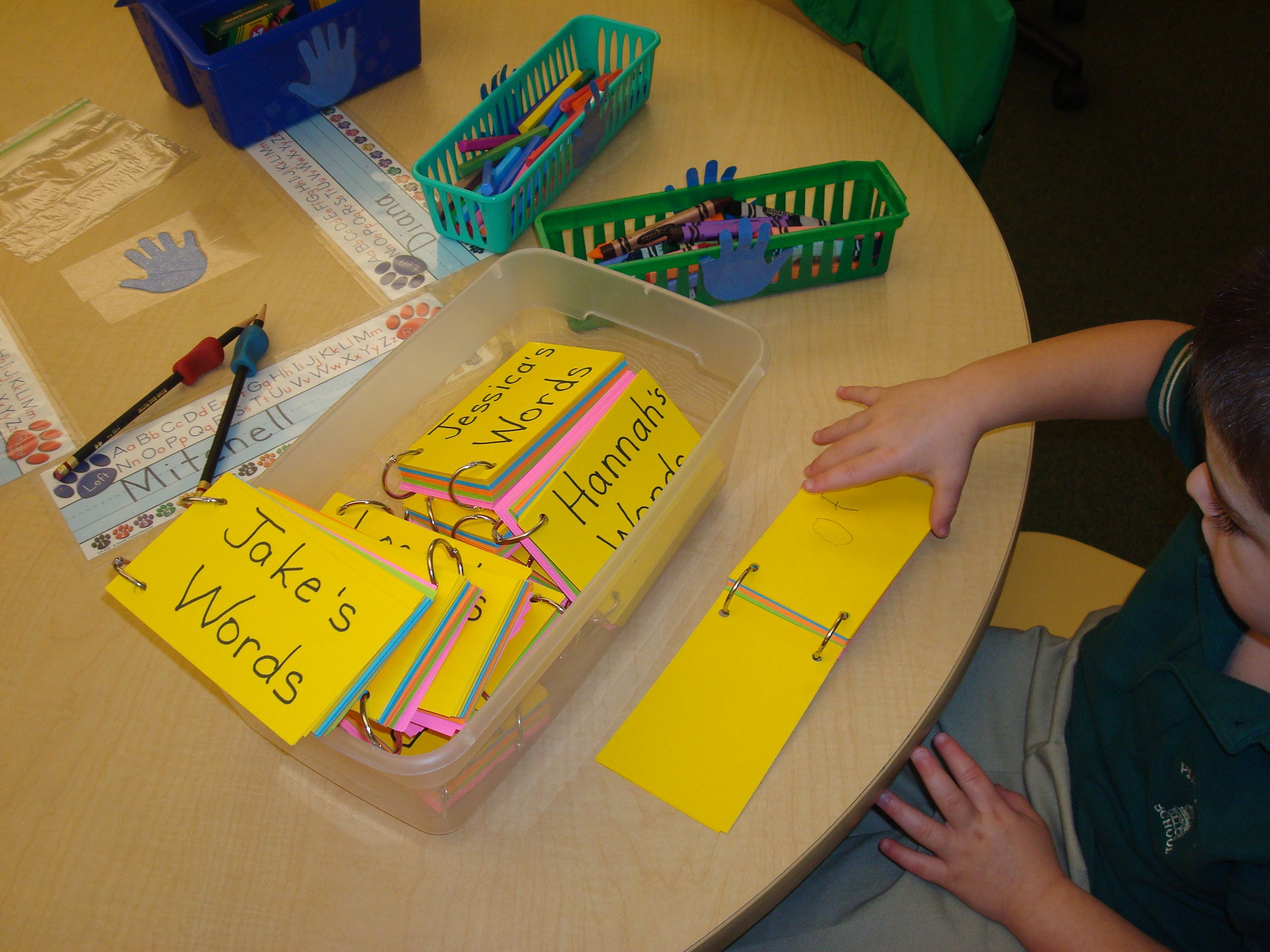 In this Pre-K classroom, students add high-frequency words and/or ...