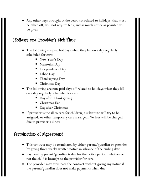 home daycare contracts examples