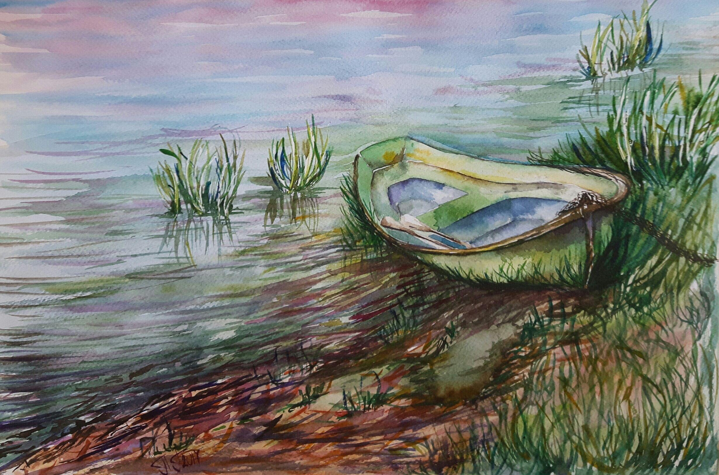 Original Watercolor Painting Boat Lake Scene Coastal Wall Art