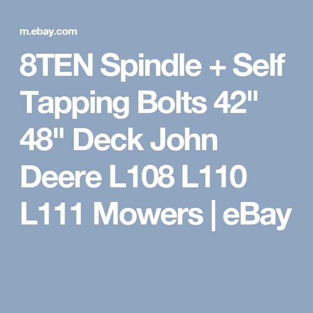 8ten spindle + self tapping bolts 42