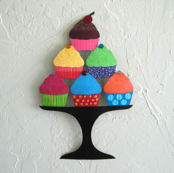 Kitchen Metal Wall Art Cupcake Sculpture Recycled Metal Kitchen Wall ...