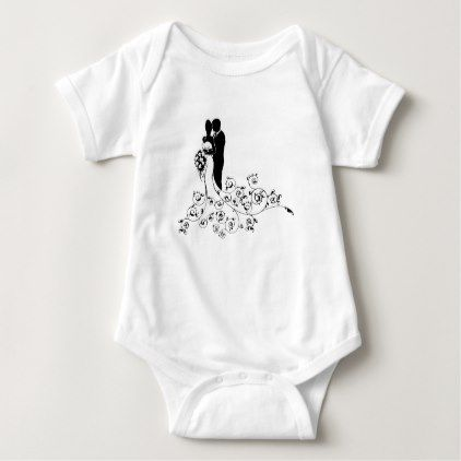 #Bride and Groom Wedding Concept Silhouette Baby Bodysuit - #bride gifts #bridal ideas unique personalize