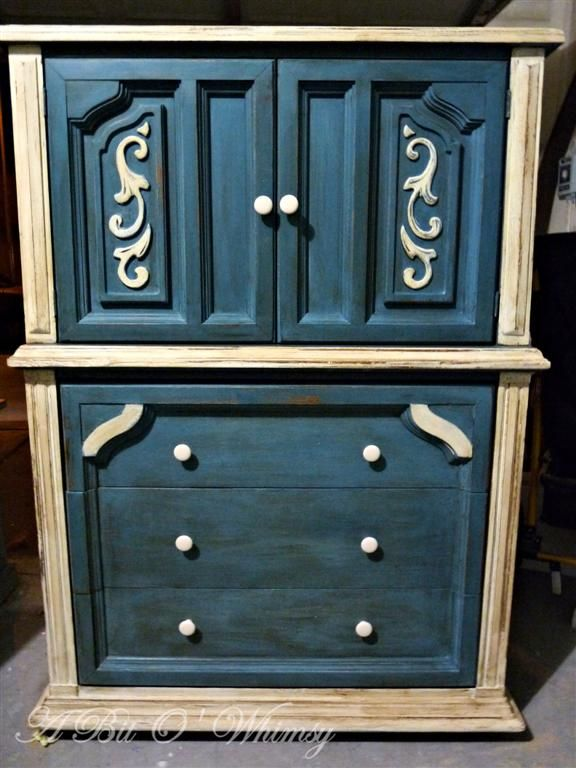 Aubusson Blue and Old White Dresser/Armoire at www.abitowhimsy.com