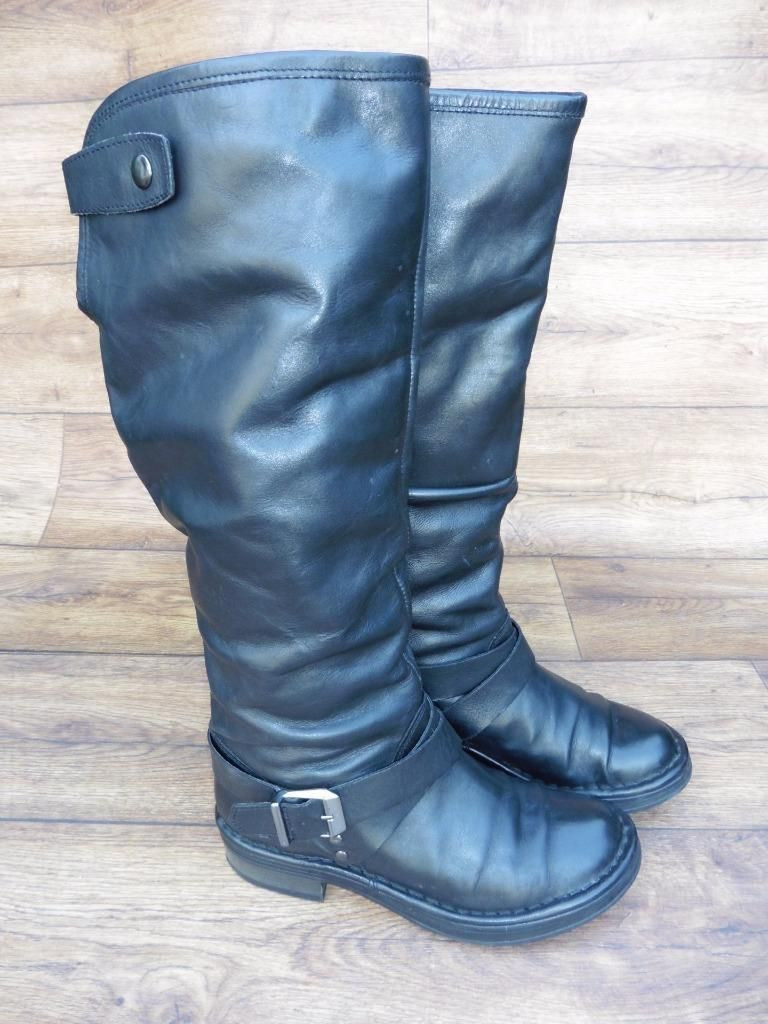 Ebay uk leather work gloves - Details About Size Uk 4 Office Black Leather Long Pull On Boots With Optional Turn Over Top