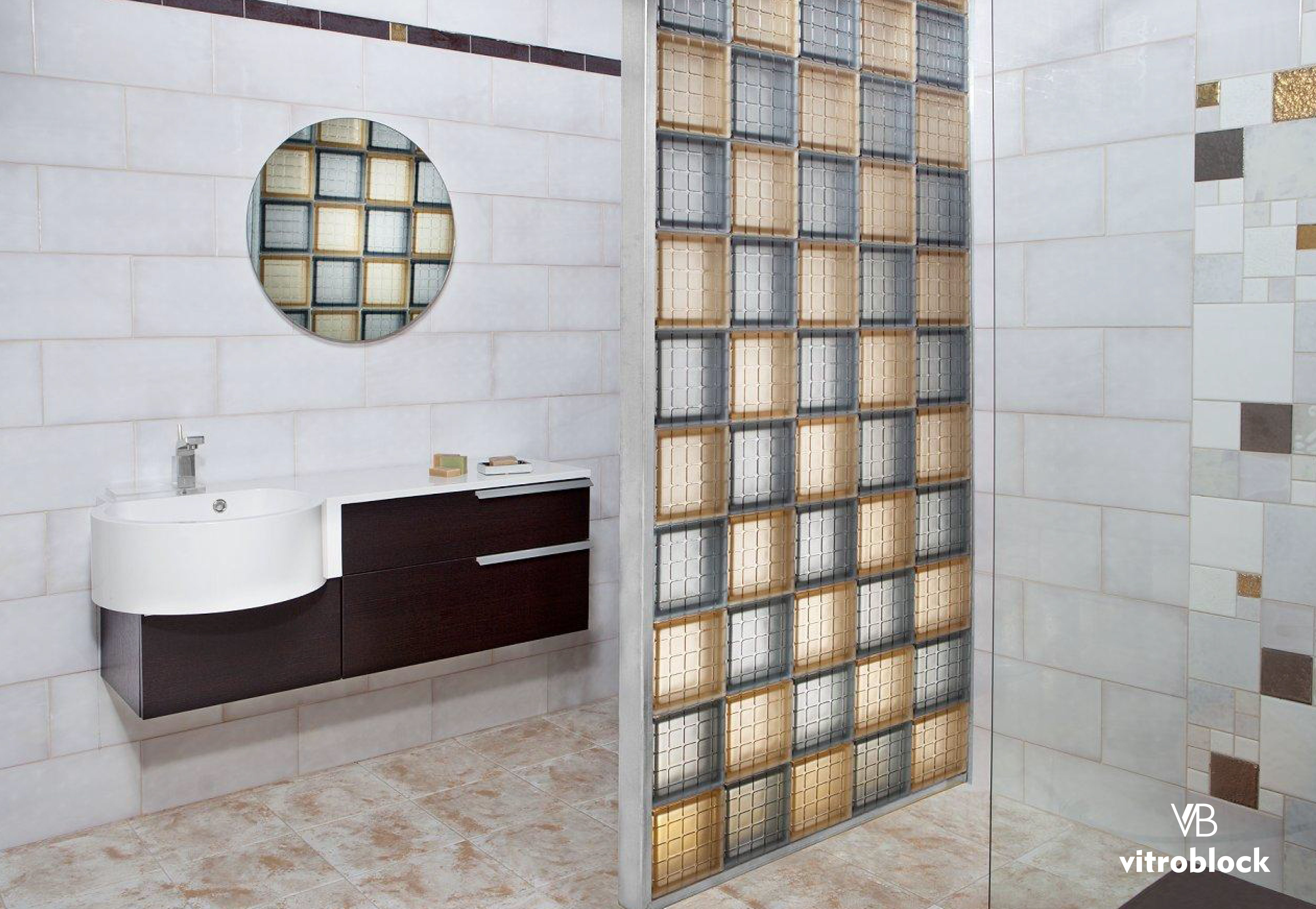 Pared divisoria de ladrillo de vidrio mosaico 3d en toilette vitroblock ladrillodevidrio - Bloques de vidrio para bano ...