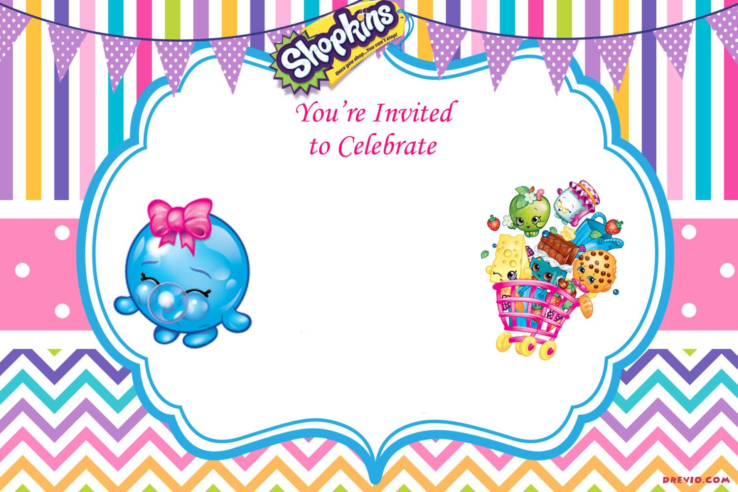 image about Shopkins Printable Invitations known as Up to date - Absolutely free Printable Shopkins Birthday Invitation