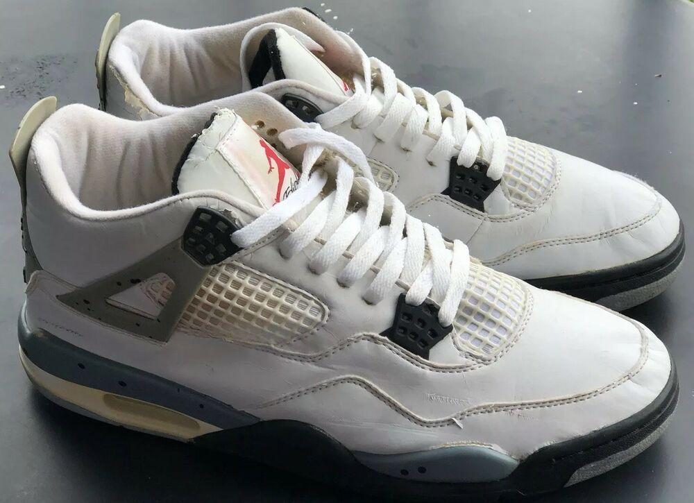 d19117488569e1 1999 Nike Air Jordan Retro IV White Cement 136013 101 Size 11 Black Grey  RARE!