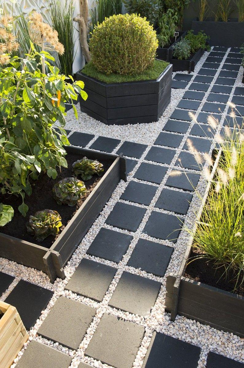 Jardin Terrasse Potager Noir Vert Design Jardins Amenagement Paysager Devant Maison Amenagement Cour