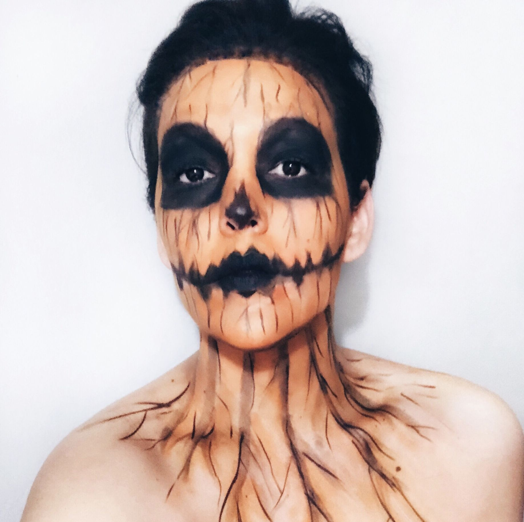 Pumpkin skull 💀 1stHalloweenLook Halloween face makeup