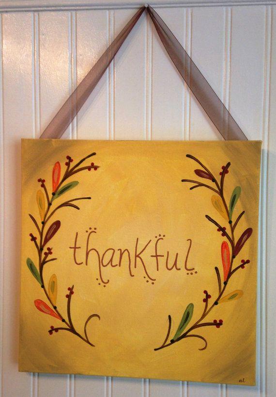 Thankful Canvas painting Autumn Original primitive folk art Fall ...