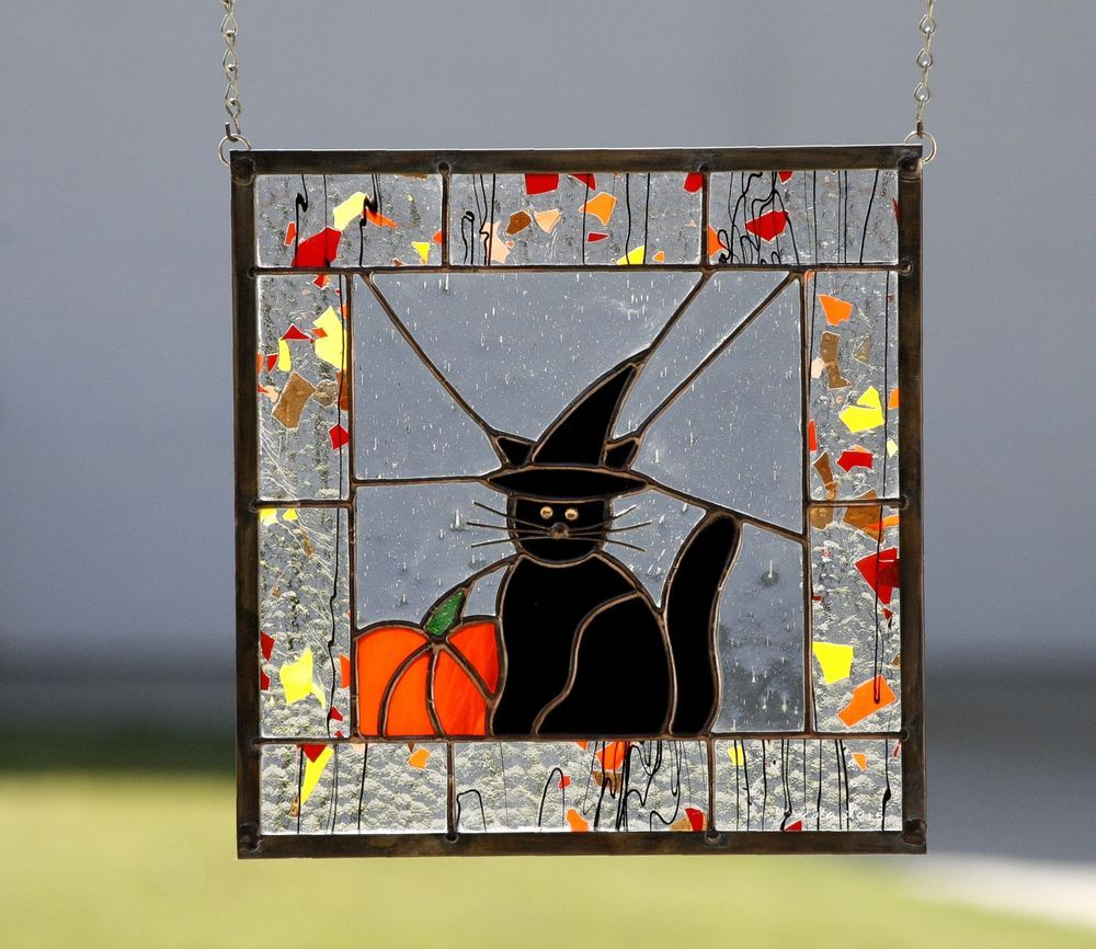 HALLOWEEN CAT Stained Glass Window Panel Black Cat Witch Hat