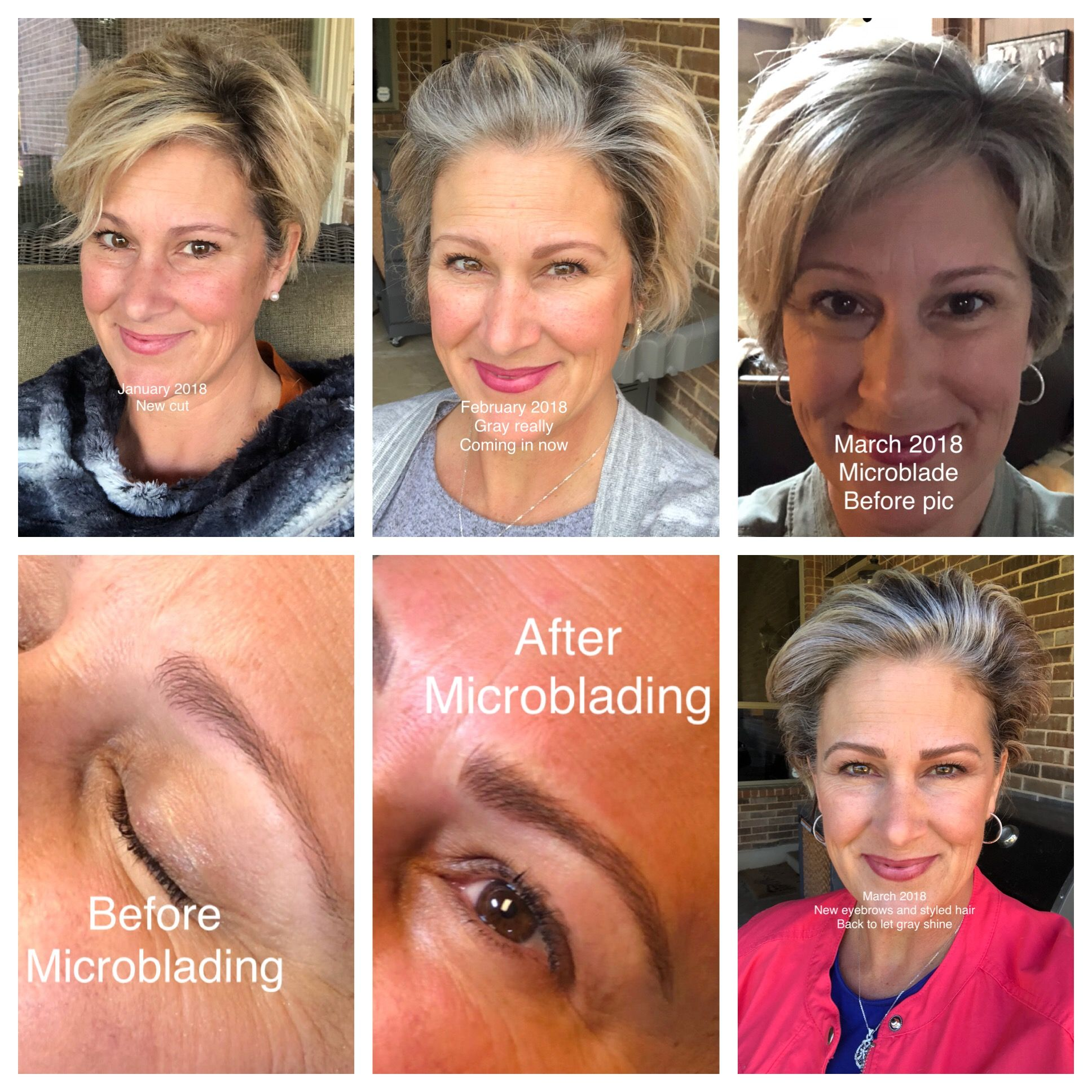 My Journey To Gray 2 Decided To Get Brows Microbladed To Offset Lighter Gray Hair Beautiful Gray Hair Brows Eyebrows