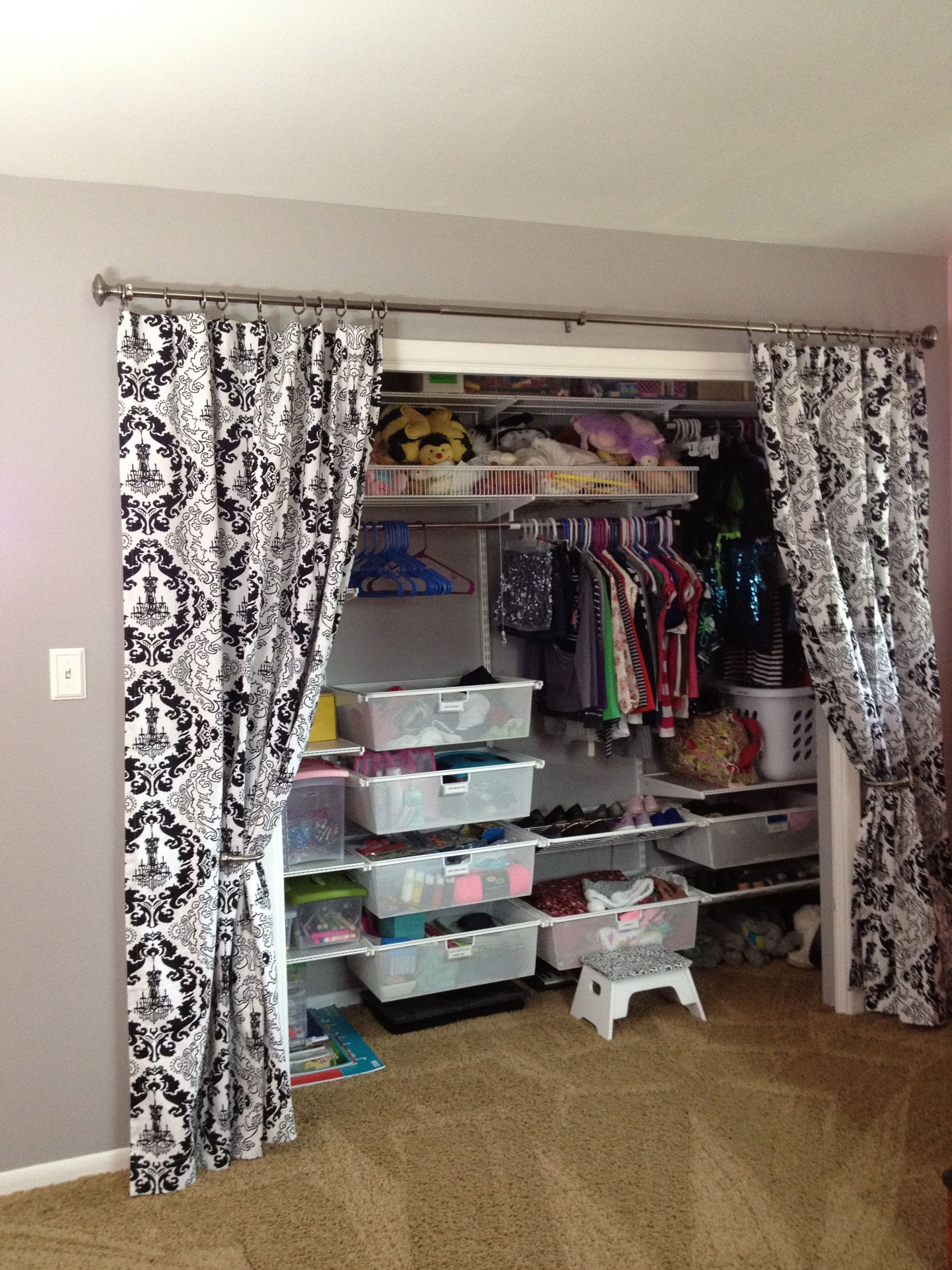 Pin By Victoria Smith On Very Clever Bedroom Organization Closet Closet Curtains Closet Bedroom